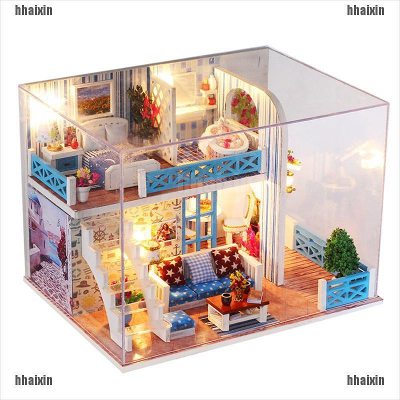 Dollhouse Miniature DIY Kit Wood Toy Doll House Cottage Photo Frame Design Gift