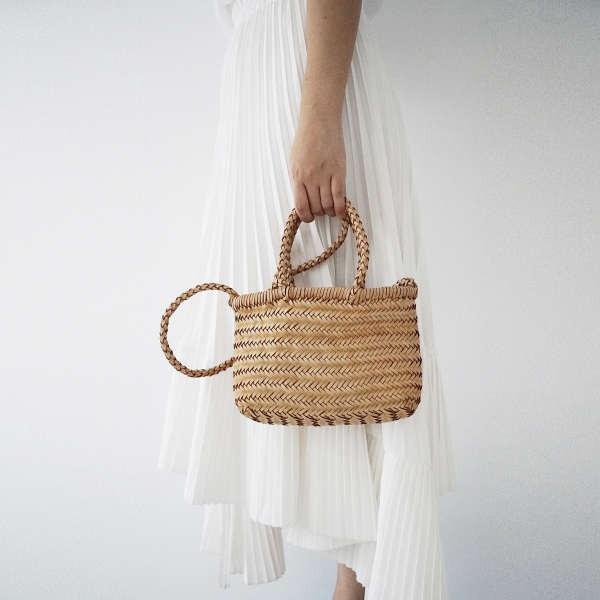 กระเป๋าสตรีทอ MISKSOLA ย้อนยุคผ้าทอมือผักหนังฟอกแบบพกพา Messenger หนังกระเป๋าใบเล็กออกแบบป่าตะกร้าเดินทาง