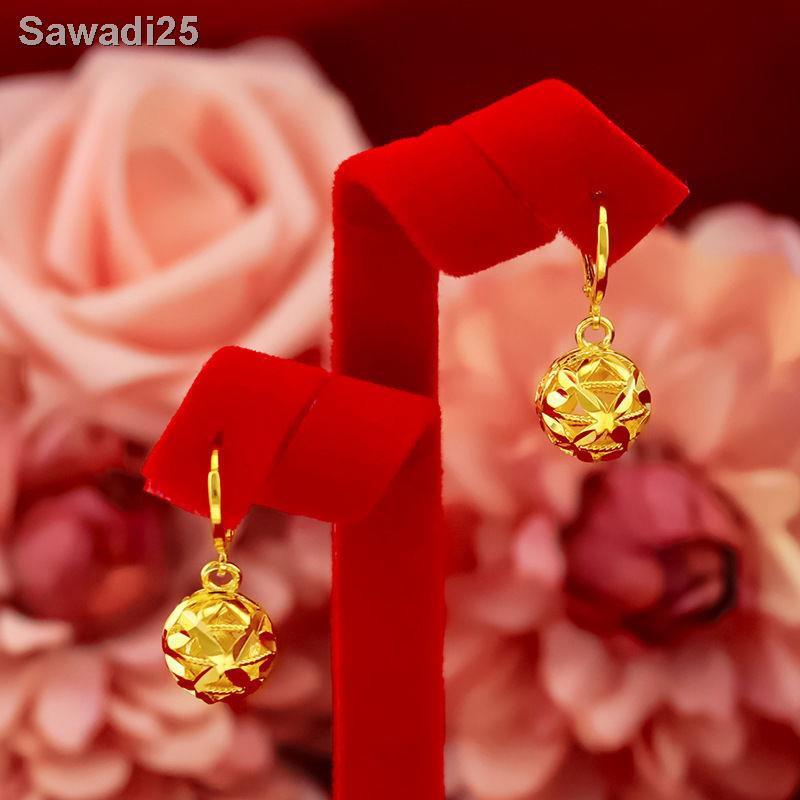 🔥สินค้าคุณภาพราคาถูก🔥[ส่งแหวน] ต่างหูทองคำขาวเวียดนาม, ต่างหูยาว, ต่างหูไฮเดรนเยียสวยหรู, ต่างหูสีทอง <111