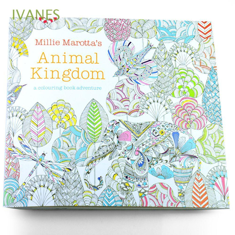 IVANES 24 Pages Painting Books Animal Kingdom Graffiti Coloring Book Kill Time Enchanted Forest New Styles Office School Mixed Colouring for Adults Kids Hand Painted Drawing