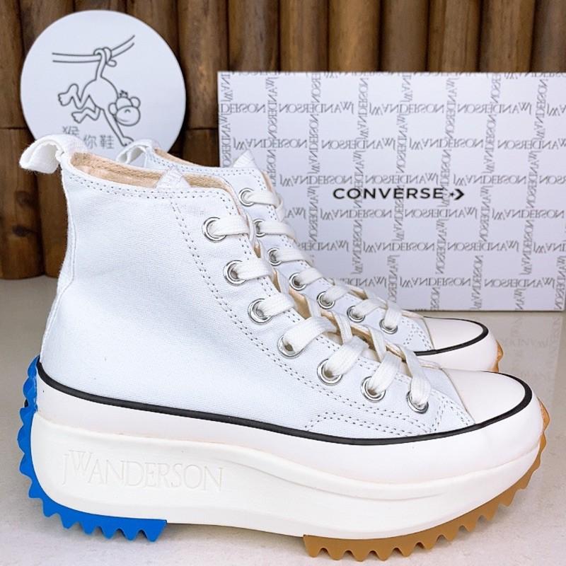 Converse x JW Anderson Run Star Hike Hi ข้อต่อสีขาวเพิ่มขึ้นรองเท้าผ้าใบผู้ชายและผู้หญิงรองเท้า
