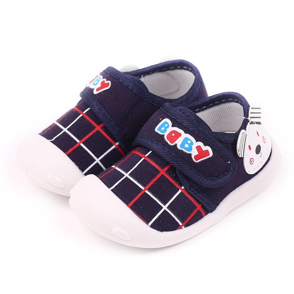 รองเท้าเด็ก สำหรับเด็กเล็ก รองเท้าหัดเดิน คัชชูเด็กเล็ก สีน้ำเงินลายหมี Size16-17 ใส่ได้ทั้งเด็กชาย หญิง