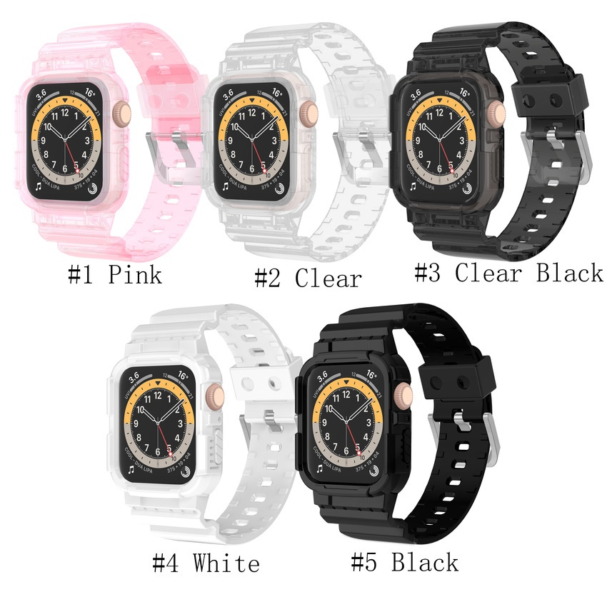 Silicone Transparent Case + Strap for Apple Watch Series SE 6 5 4 3 2 1 Clear Sport Band for IWatch 38mm 40mm 42mm 44mm TPU Cover Strap