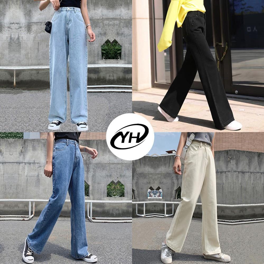?yh8529?มีไซซ์ S-3xl?กางเกงยีนส์ เอวสูง สไตล์เกาหลี แนววินเทจ เท้ากว้าง กางเกงยีนส์ขายาว สวยๆเก๋ๆ.