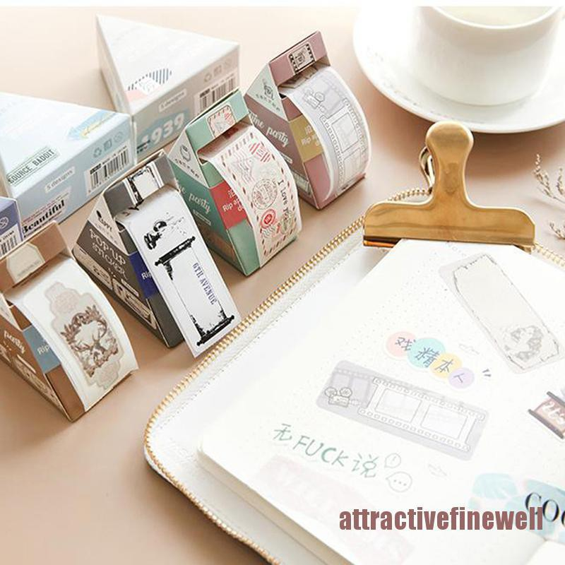 AFWL Decorative DIY Paper Label Stickers Diary Note Books Vintage Tag Tape Stationery AFL