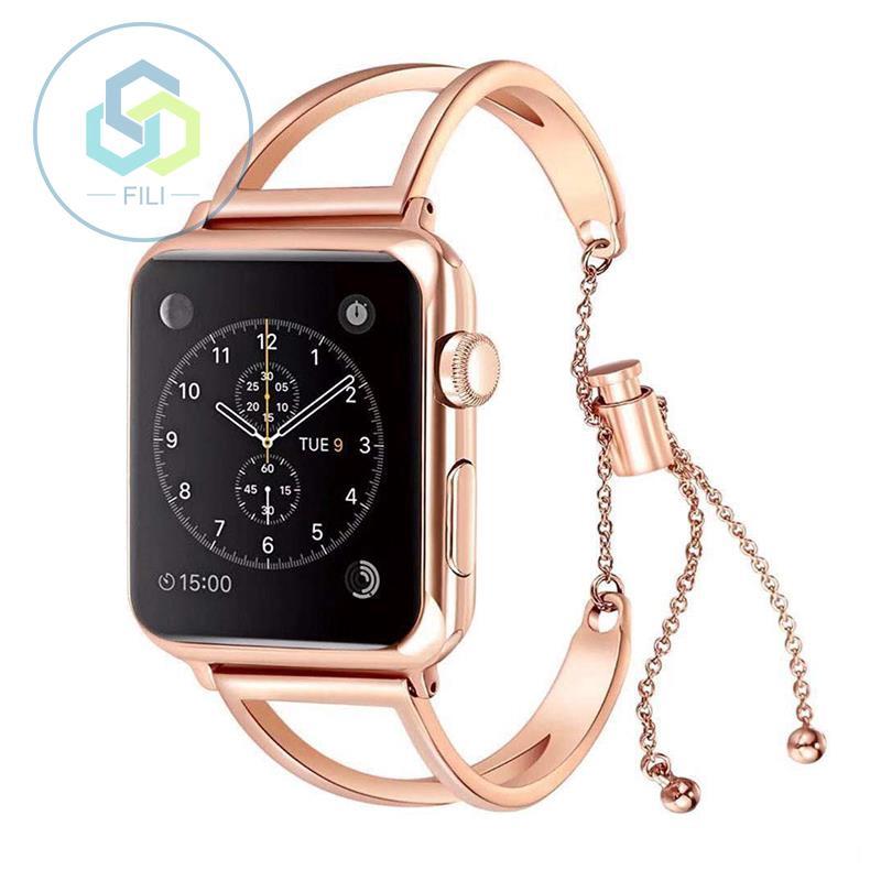 Apple Watchseries1/2/3/4 สายคล้อง AppleWatch โลหะสแตนเลสกลวงหญิงรุ่น