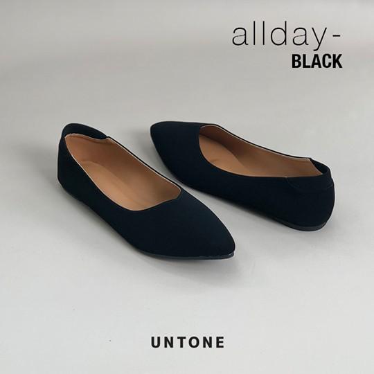 รองเท้าสลิปออนผู้หญิง。 รองเท้าคัชชูไม่มีส้น ไซส์ 35-42 สีดำ รุ่น Allday-