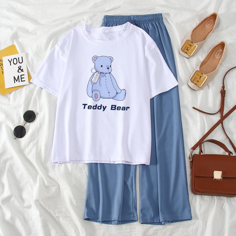 MT ชุดเข้าเซท 2 ชิ้น ชุดใส่อยู่บ้าน น่ารัก เนื้อผ้าใส่สบาย เซทเสื้อและกางเกง เสื้อยืดลายการ์ตูน เซทคู่กางเกงขายาว
