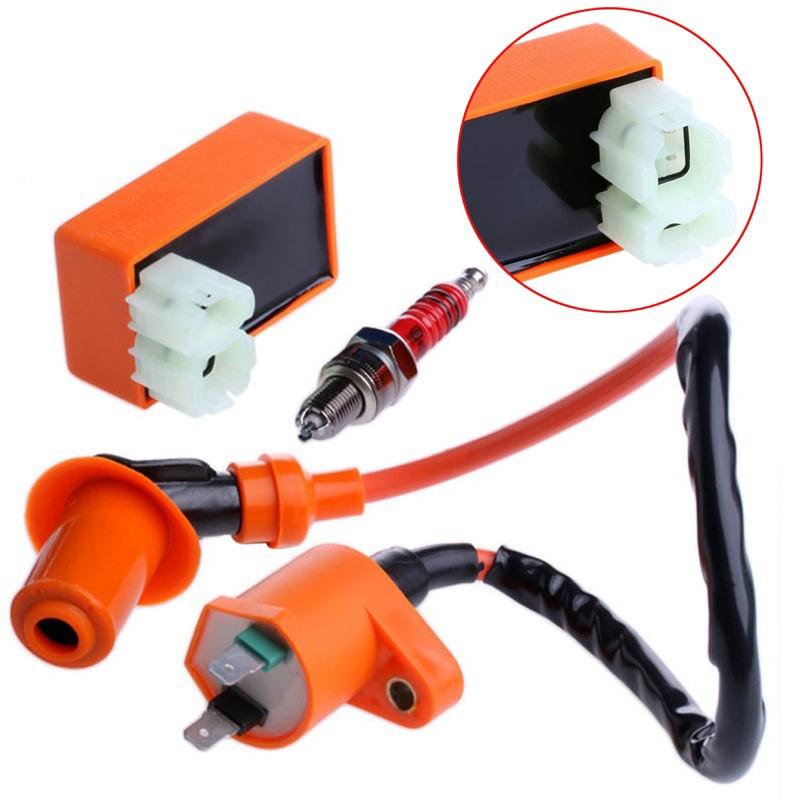 ราคาดีที่สุด 3Pcs 6 Pin CDI Box+Ignition Coil+Spark Plug Set