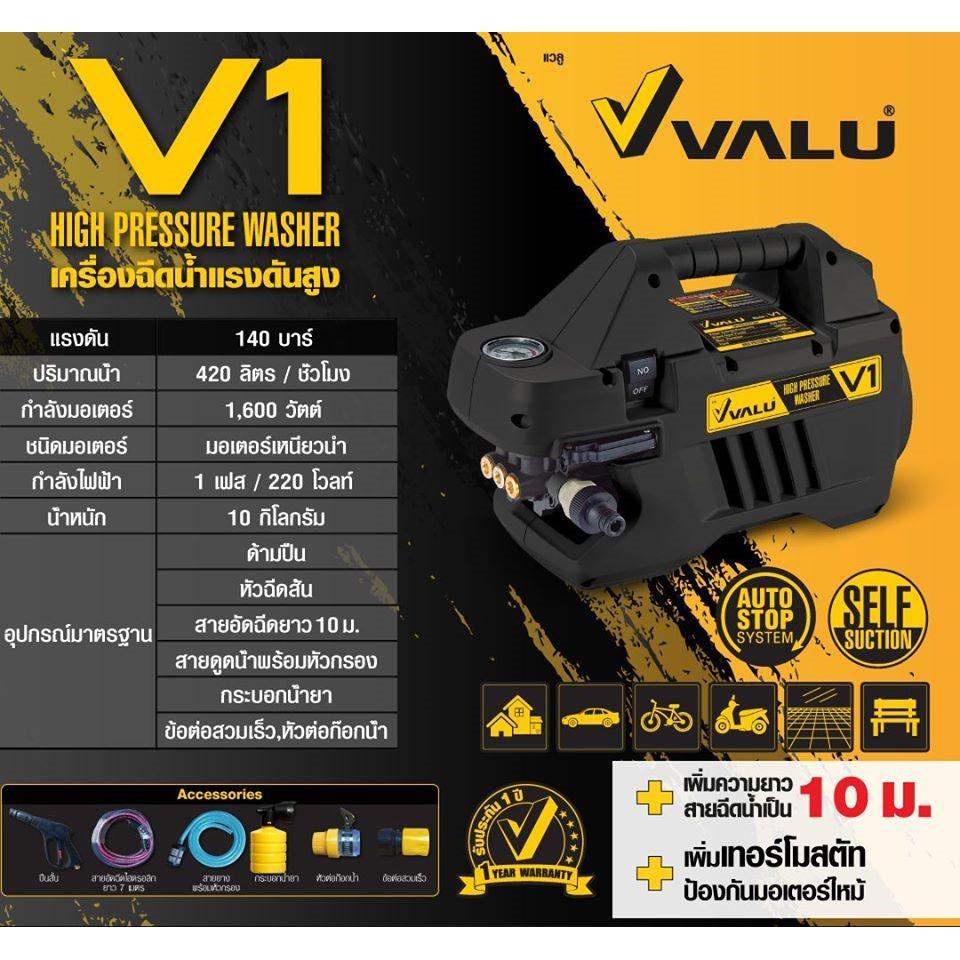 VALU เครื่องฉีดน้ำแรงดันสูง 140 บาร์ รุ่น V1 (ดูดน้ำได้ Induction Motor)