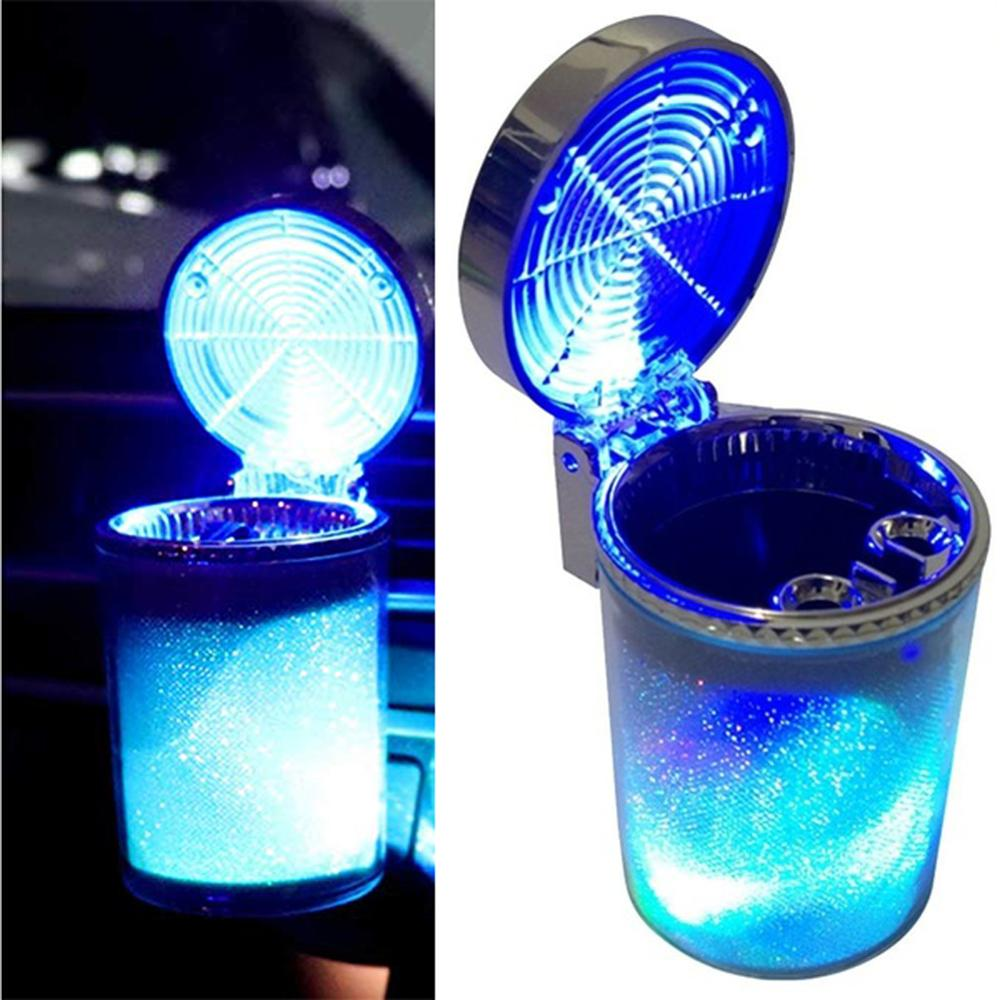 Portable Car Cigarette Ashtray for Cup Holder Car Air Vent Cigarette Ashtray with LED Light Color Changing and Cover for