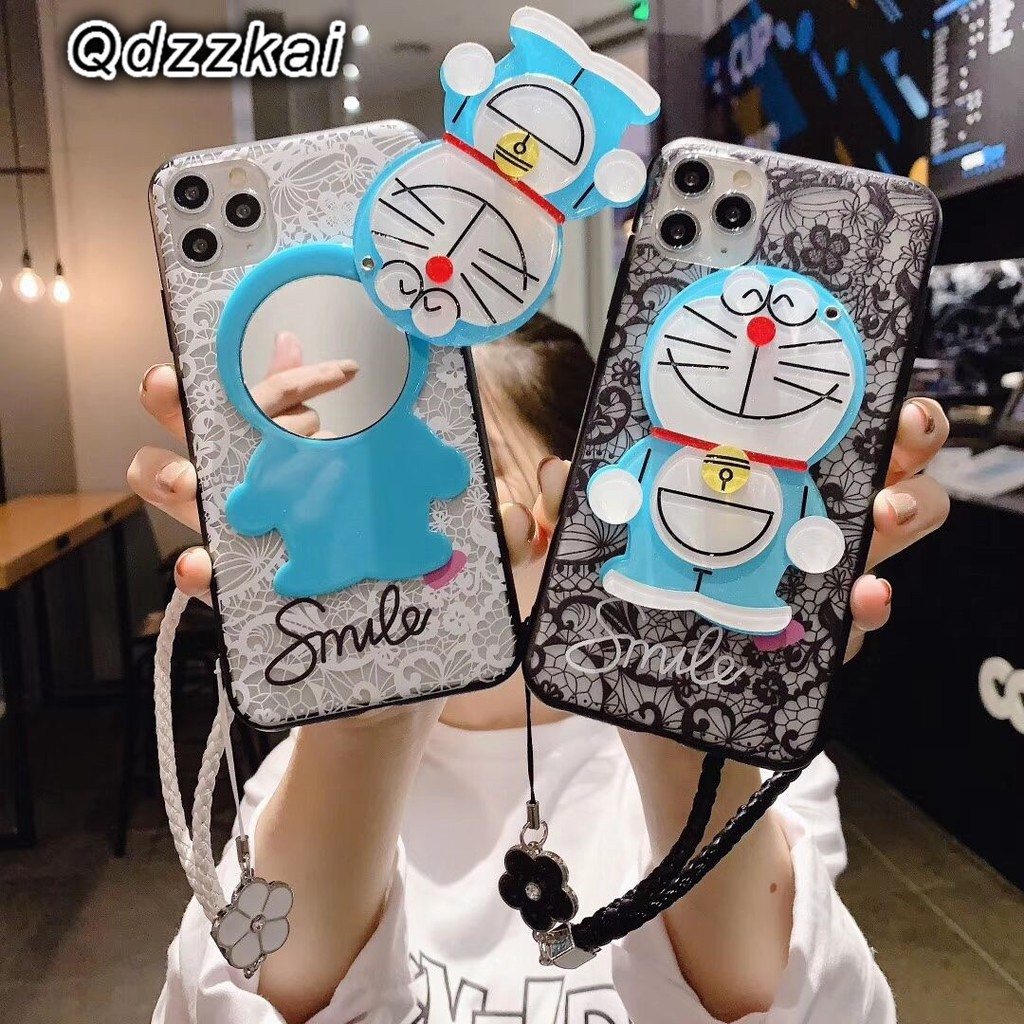 Samsung galaxy J4 J6 J7 A6 A8 Plus J2 Pro A7 A9 2018 Cartoon Cute Lace Doraemon Mirror Case