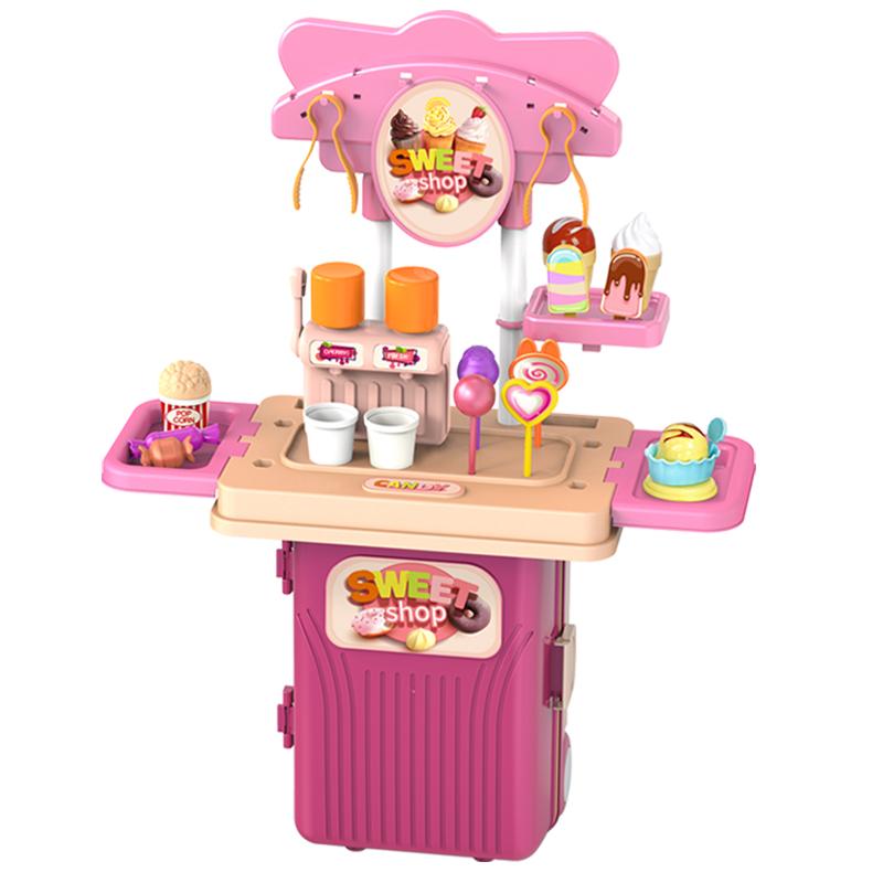 ☼≞กระเป๋าเดินทาง  เคสรถเข็นเด็กเด็กเล่นบ้านครัวของเล่นชุดทำอาหารทำอาหารชายทารกสาวน้อยลูกอมกระเป๋าเดินทางของขวัญวันเกิด