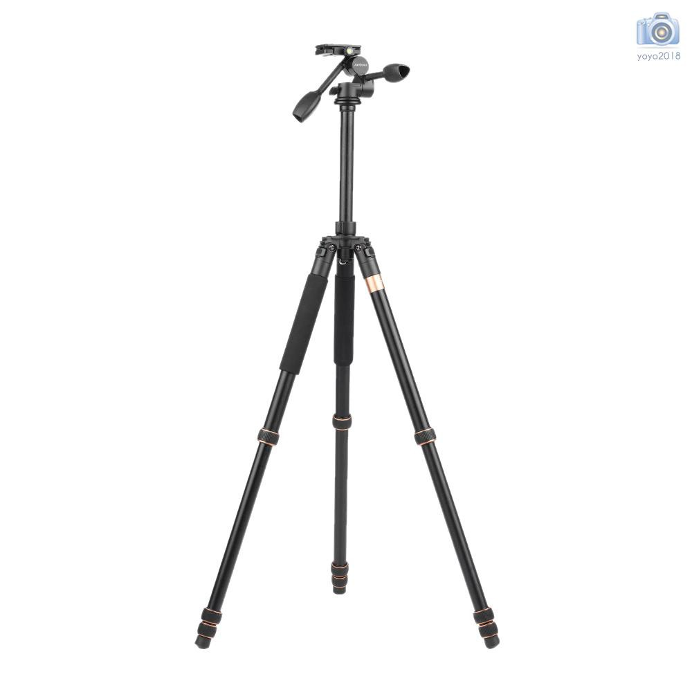 Load 20kg for Canon Nikon Sony DSLR Camera Andoer TP-630 Magnalium Tripod Dual Handle 3-way Photographic Head 180cm//70.9-inch Max