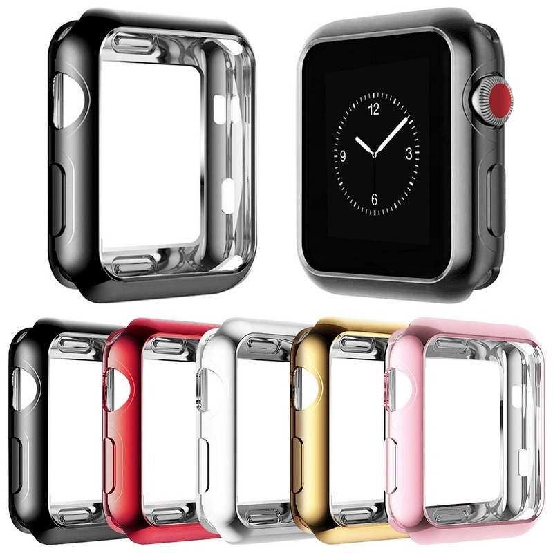 Soft Plating TPU Protector Case for Apple Watch SE Series se 6 5 4 3 2 1 Cover 40mm 44mm 38mm 42mm Lightweight Bumper for iWatch Shell