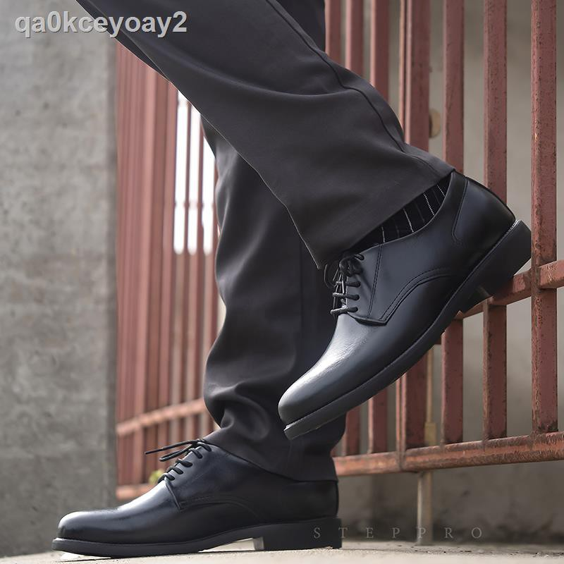 รองเท้าหนังผู้ชาย℡✱StepPro รองเท้าคัชชูหนังแท้หัวมนแบบจำลองเชือกสีดำพื้นยางแท้กันลื่นระดับดีเยี่ยม Anti-Slip of Sole C
