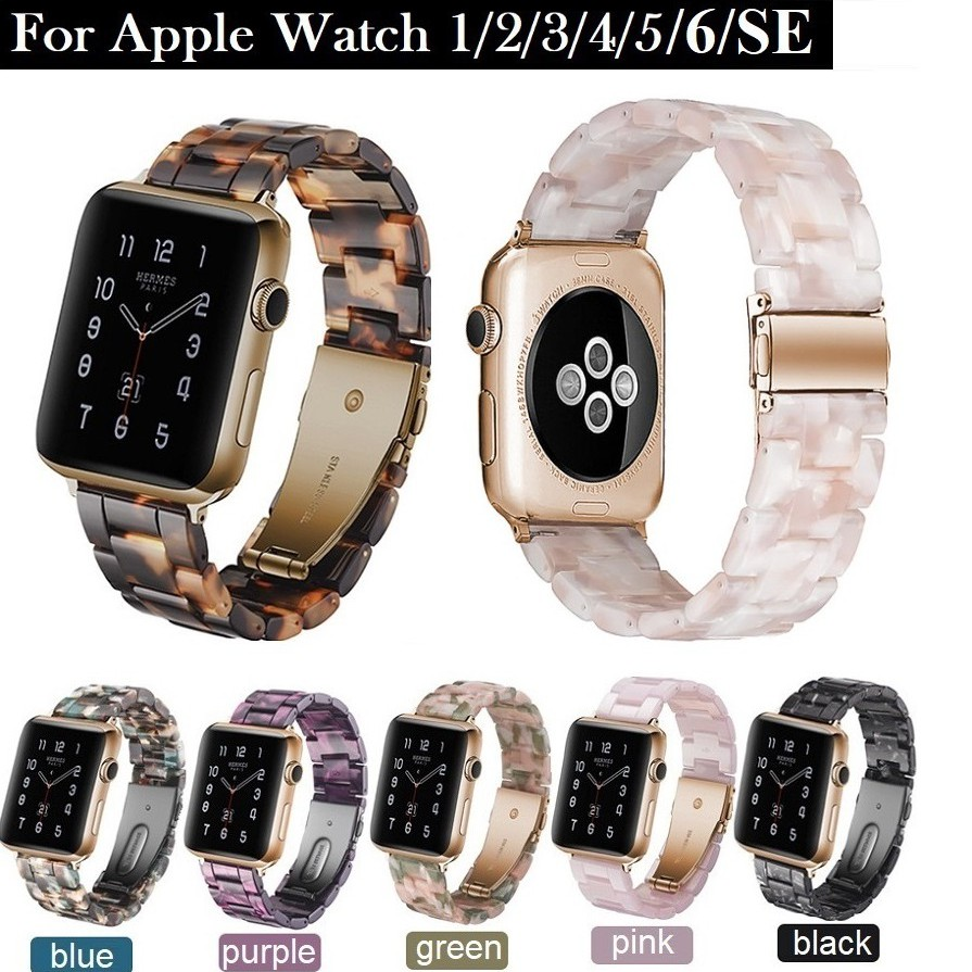สายนาฬิกา Apple Watch Resin Straps เรซิน สาย Applewatch Series 6 5 4 3 2 1 /  Apple Watch SE Stainless Steel สายนาฬิกาข้อมือ for apple watch Series6 ,Series5,Series4 ,Series3, Series2 Watch band iwatch size 38mm 40mm 42mm 44mm