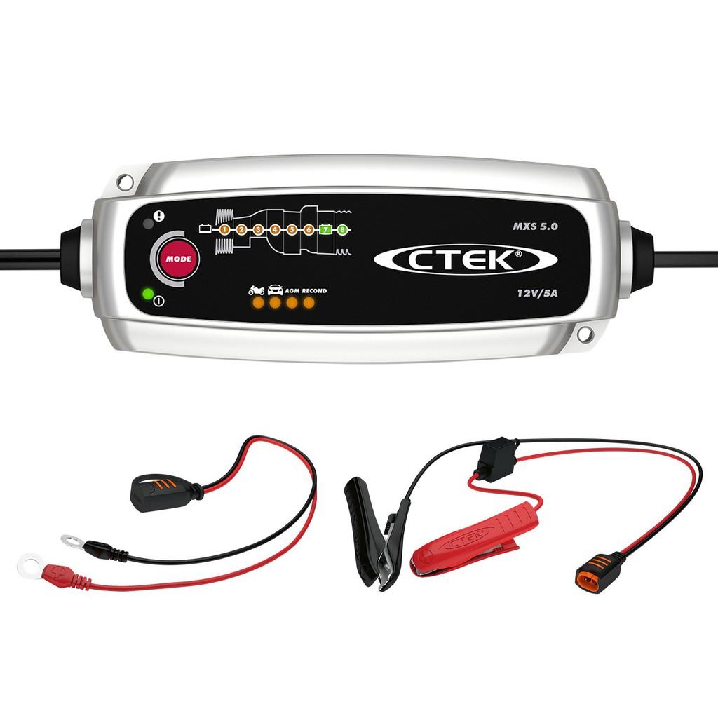 CTEK MXS 5.0 เครื่องชาร์จแบตเตอรี่อัจฉริยะ 5A รุ่นยอดนิยมสำหรับรถยนต์และมอเตอร์ไซค์