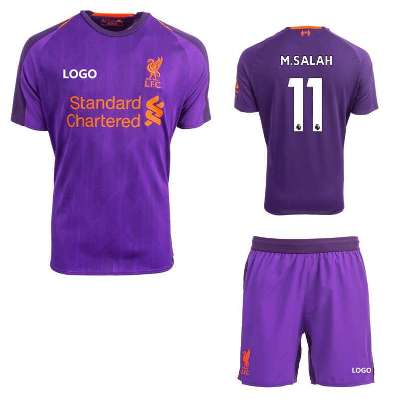 premium selection ac766 d7337 2018-2019 Boys Liverpool No.11 M.SALAH Away Kit Kids Football jersey Soccer  shirt+shorts เสื้อฟุตบอล