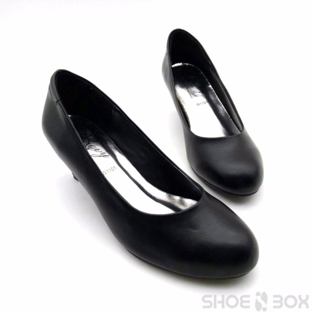 Rovy รองเท้าคัชชูผู้หญิง ส้นสูง2นิ้ว ทรงทางการ W1101 สีดำ