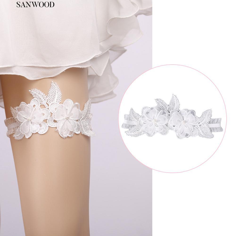 b8def17d089 ☮Exquisite Flower Lace Faux Pearl Elastic Thigh Band Decor Wedding Bridal  Garter