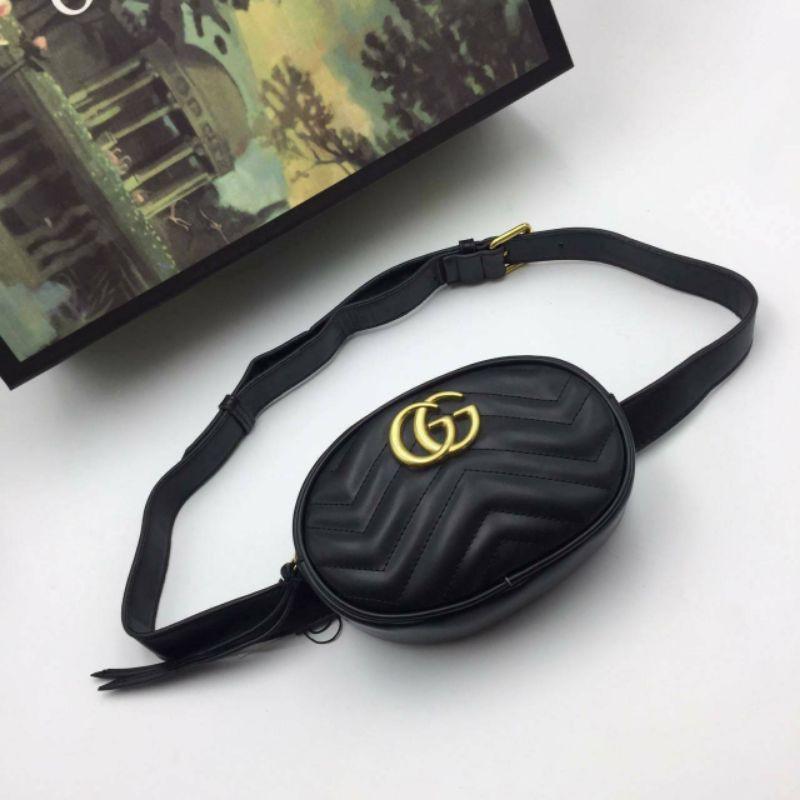 กระเป๋า Black GG Marmont 2.0 Belt Bag B001  💼 Gucci Bag A.L👜