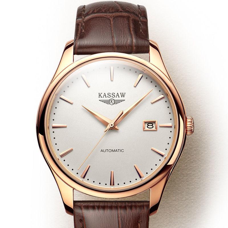 applewatch series 6▨♣นาฬิกาสวิส ของแท้ นาฬิกาผู้ชาย ultra-thin ระบบกลไกอัตโนมัติ นาฬิกาข้อมือสายหนังธุรกิจกันน้ำของผู้ชา