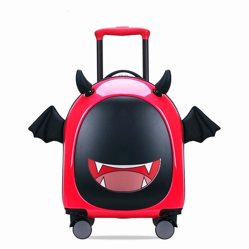 ゆす กระเป๋าเดินทางล้อลาก กระเป๋าเดินทางล้อลากใบเล็กบิ๊กเวย์เด็กรถเข็นกระเป๋าการ์ตูนกระเป๋า16นิ้วน่ารักปีศาจน้อยสร้างสรรค์