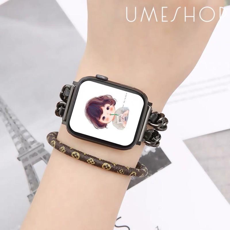 เคส applewatch สายหรูหรา สำหรับ Apple Watch สายหนังสแตนเลสเปลี่ยนสายสำหรับ AppleWatch Series 5 4 3 2 1 i สาย 42mm 44mm 3