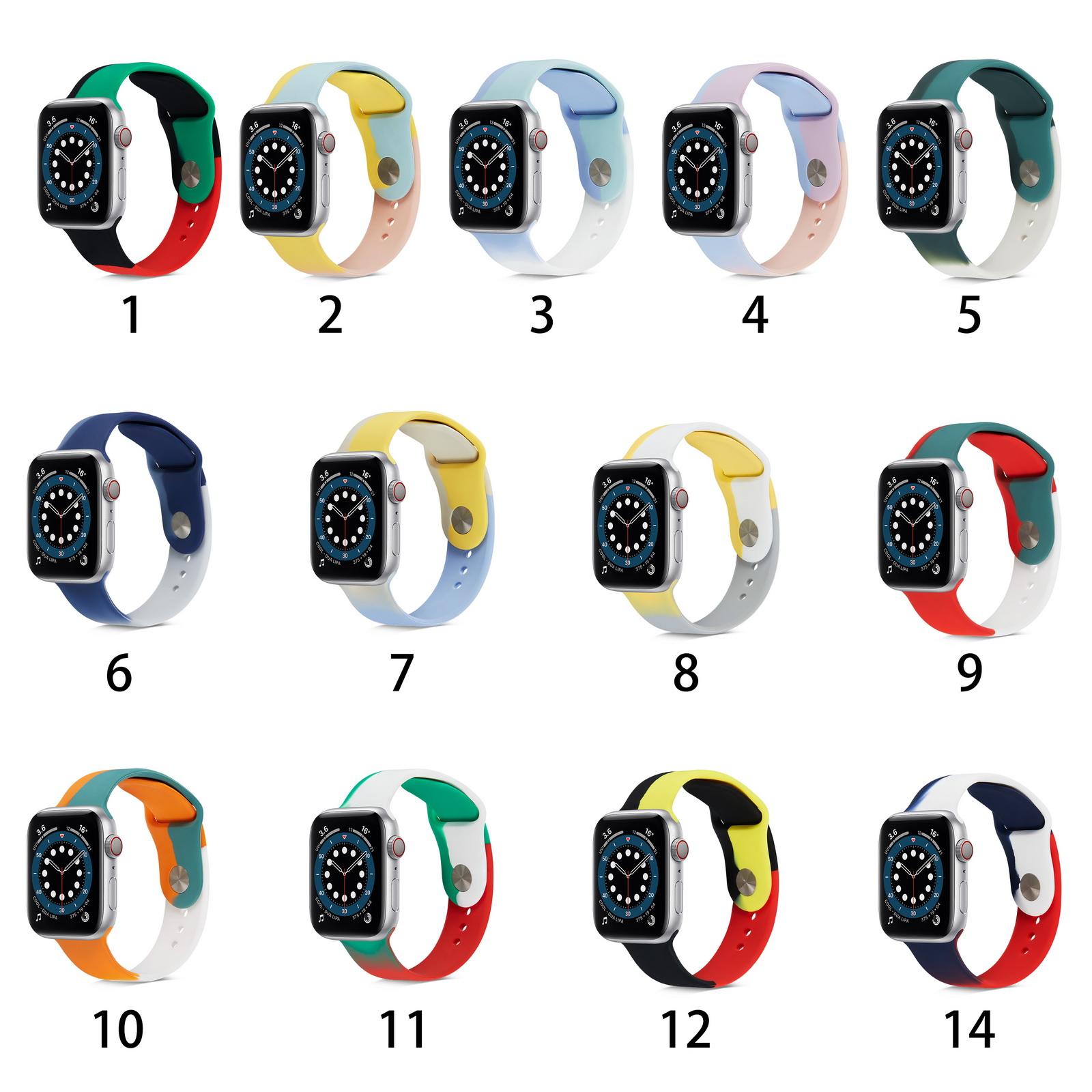 2021 Newst สายนาฬิกาข้อมือซิลิโคนสีรุ้งสําหรับ Apple Watch Band Series 6 5 4 3 2 1 Se Design 42 มม . 38 มม .