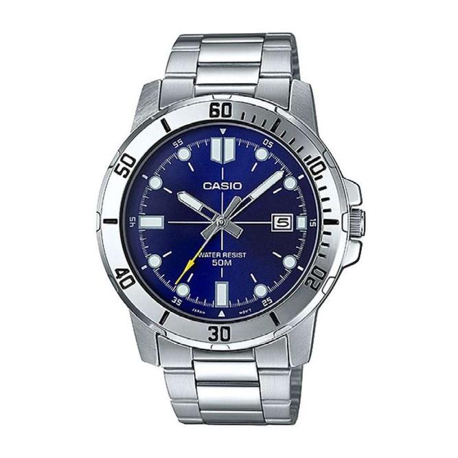 จัดส่งฟรีCasio Standard นาฬิกาข้อมือผู้ชาย สายสแตนเลส รุ่น MTP-VD01D,MTP-VD01D-2E,MTP-VD01D-2EV - สีน้ำเงิน