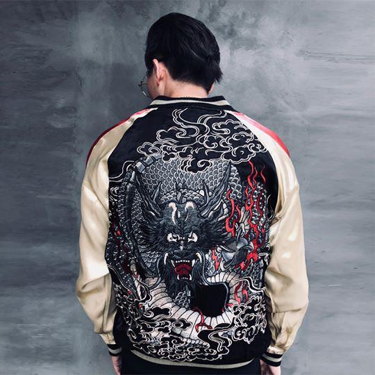 SUKAJAN พรีเมียมเกรด Japanese Souvenir Jacket  แจ็คเกตซูกาจันลาย  BLACK DRAGON