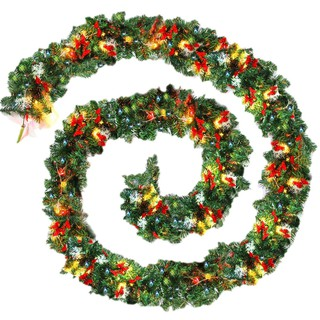9ft 270cm Plain Green Christmas Garland With Warm White Led Light Artificial Wreath Fireplace Xmas T