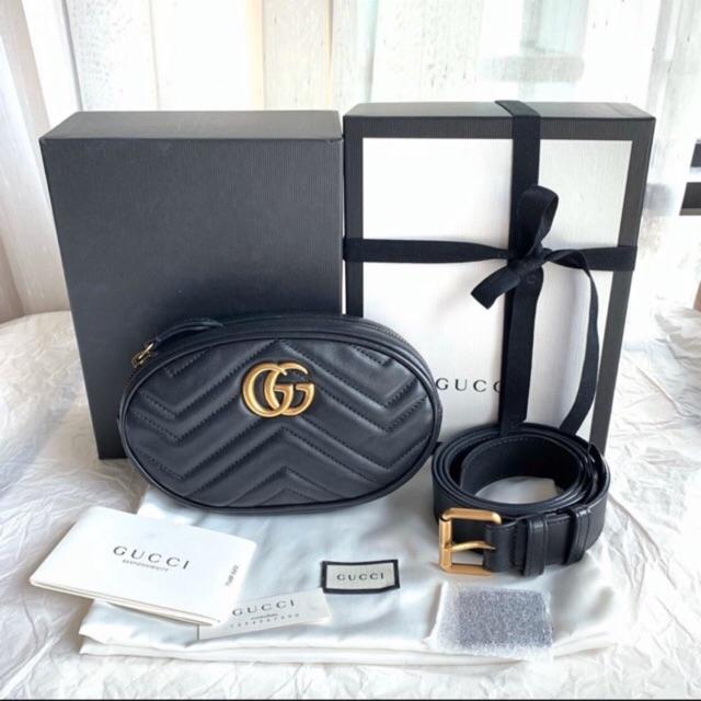 ❌ขายแล้ว❌Used Gucci marmont belt bag กระเป๋าคาดอก สีดำ ไซส์ 85 ของแท้!!!