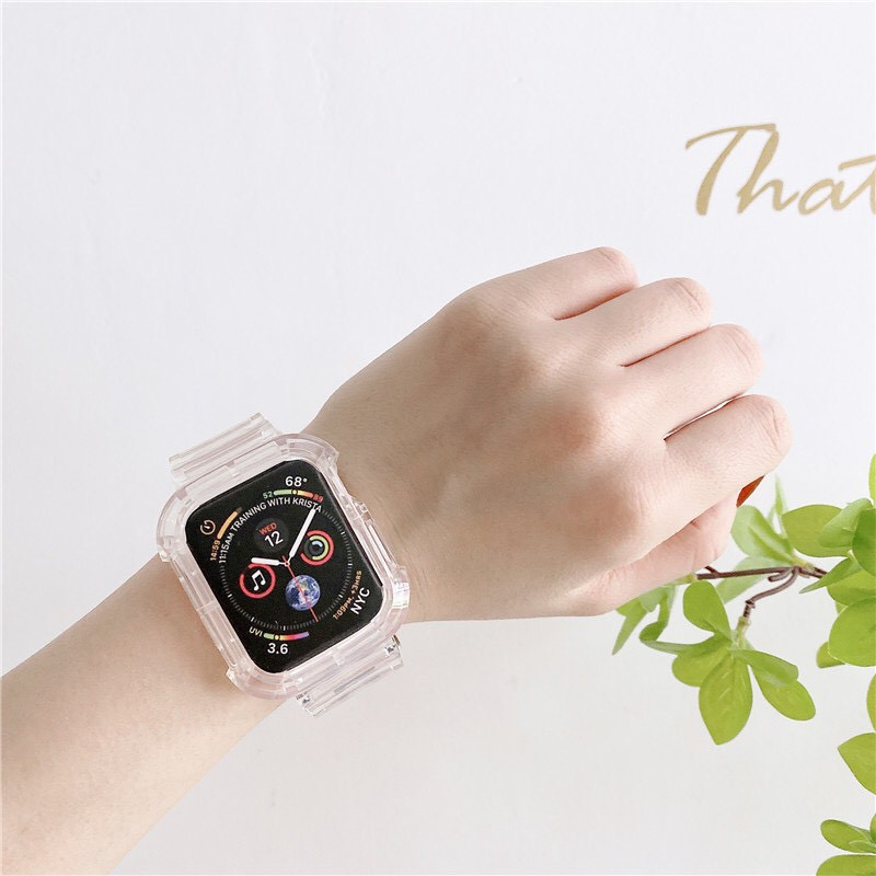 applewatch series 6 สาย applewatch โปร่งใสซิลิโคนสำหรับ Apple Watch Series SE 6 5 4 3 2 1สายนาฬิกา Apple Watch แถบ40มม.4