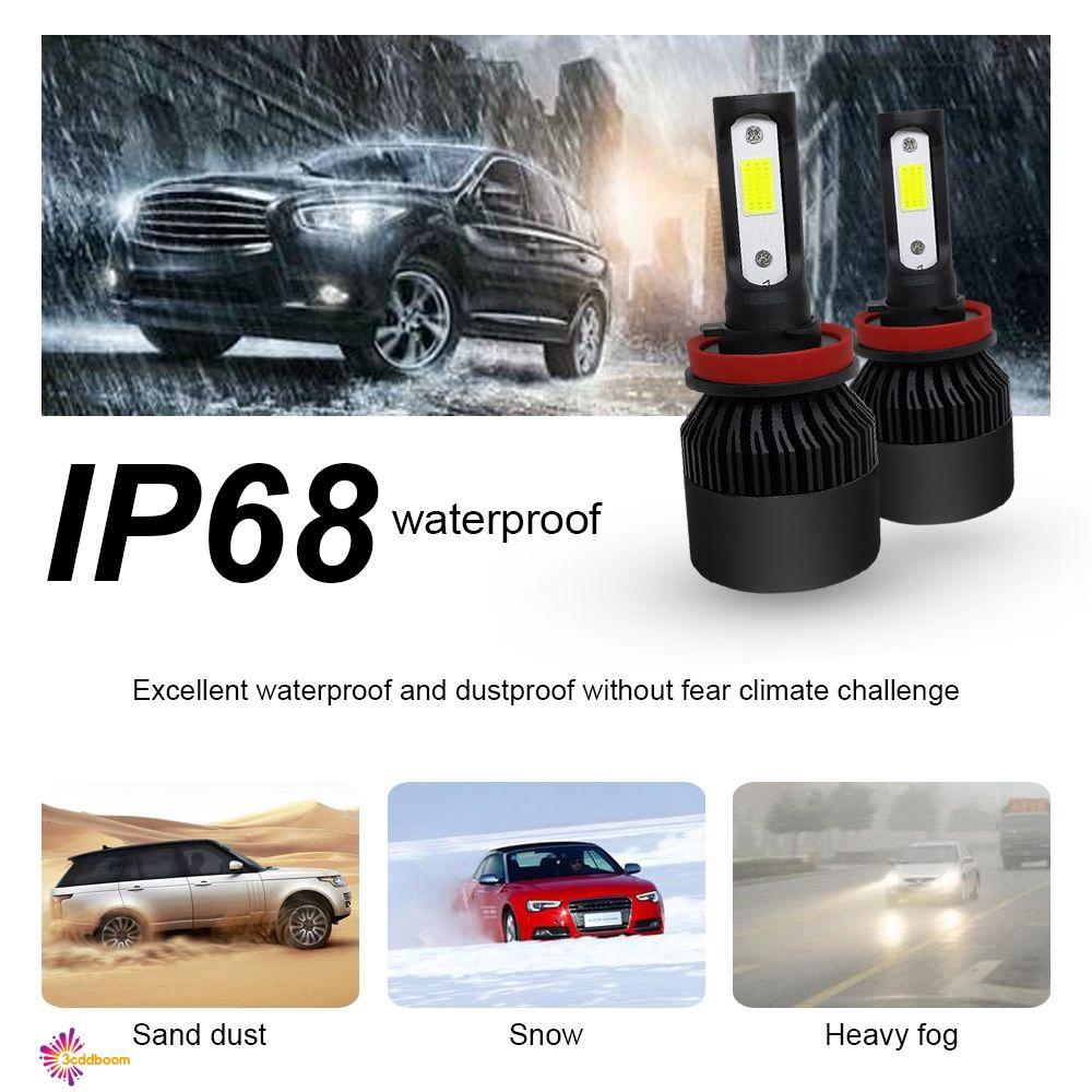2Pcs H11 9000LM 6000K LED Headlight Driving Fog Light Replacement Bulbs Kit