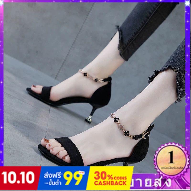 ⭐👠รองเท้าส้นสูง หัวแหลม ส้นเข็ม ใส่สบาย New Fshion รองเท้าคัชชูหัวแหลม  รองเท้าแฟชั่นคำกับรองเท้าแตะแฟชั่นของผู้หญิงสีดำ
