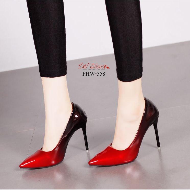 รองเท้าคัชชูส้นเข็มสูงหัวแหลมสูง  4 นิ้ว วัสดุหนังแก้วไล่สี  558