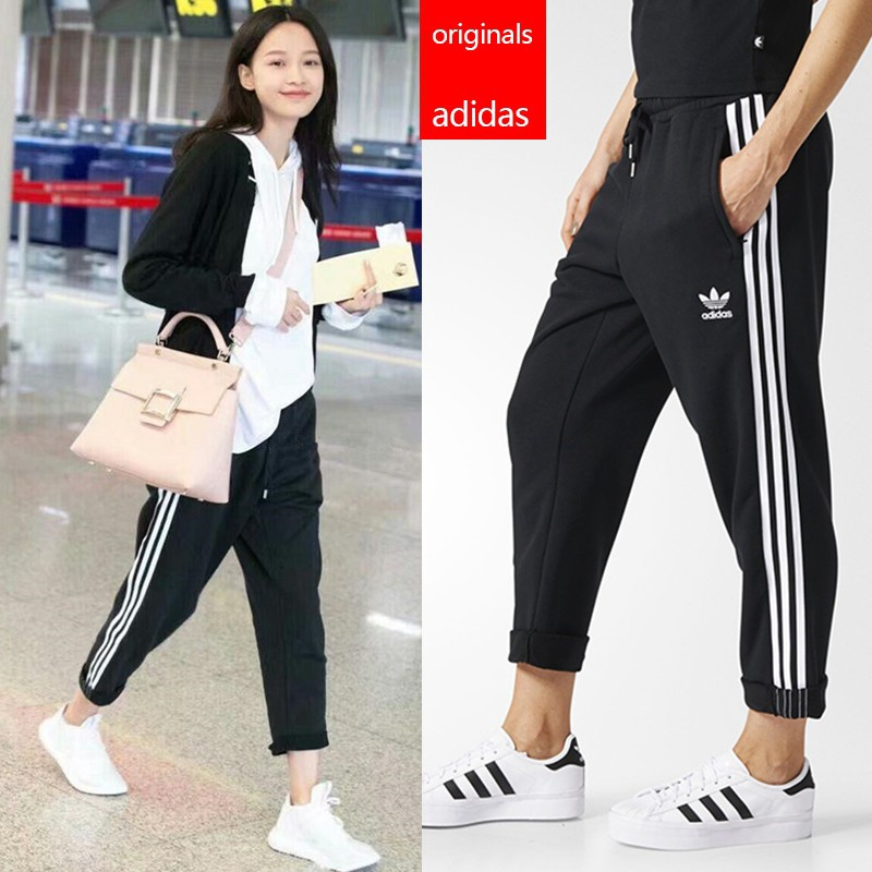 Adidas Original women's crop jeansl Sweatpants, Casual Loose Sports Pants