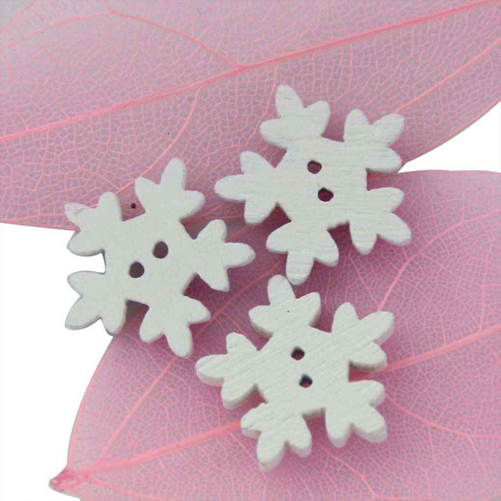 Home & Garden Buttons 100pcs Christmas Holiday Wooden Collection Snowflakes Buttons Snowflakes Embellishments 18mm Creative Decoration