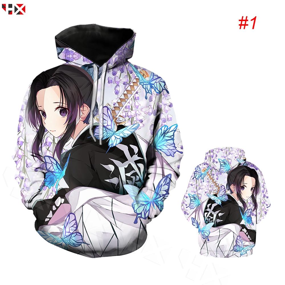 HX Kimetsu No Yaiba Shinobu Kocho 3D พิมพ์ Hoodies ลำลองแขนยาวแฟชั่นเสื้อคลุมด้วยผ้า