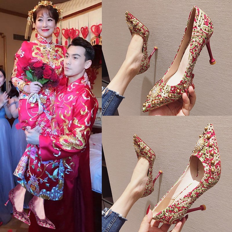 🗽ในสต็อก⛪รองเท้าส้นสูงสีแดง รองเท้าเจ้าสาว รองเท้าคัชชูแฟชั่น รองเท้าคัชชูหัวแหลม