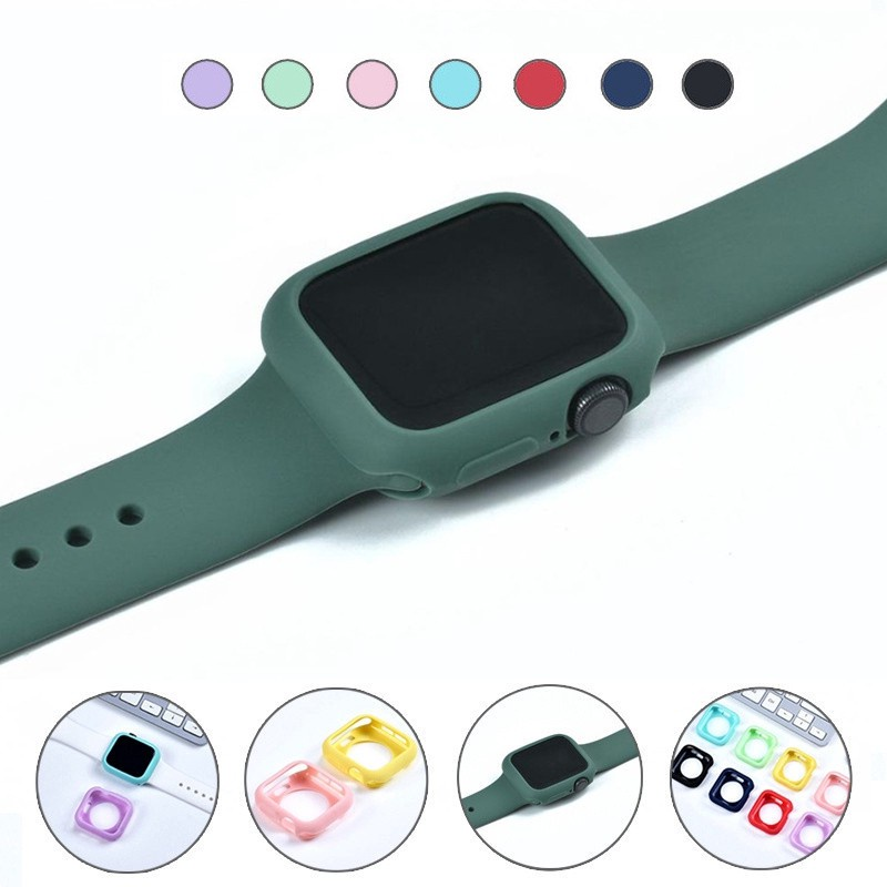 【Ready Stock 】 Candy Soft Silicone Case for Apple Watch 42MM 38MM 40MM 44MM iWatch Series 6 SE 5 3 2 1 Green Bumper Cover Protection Shell