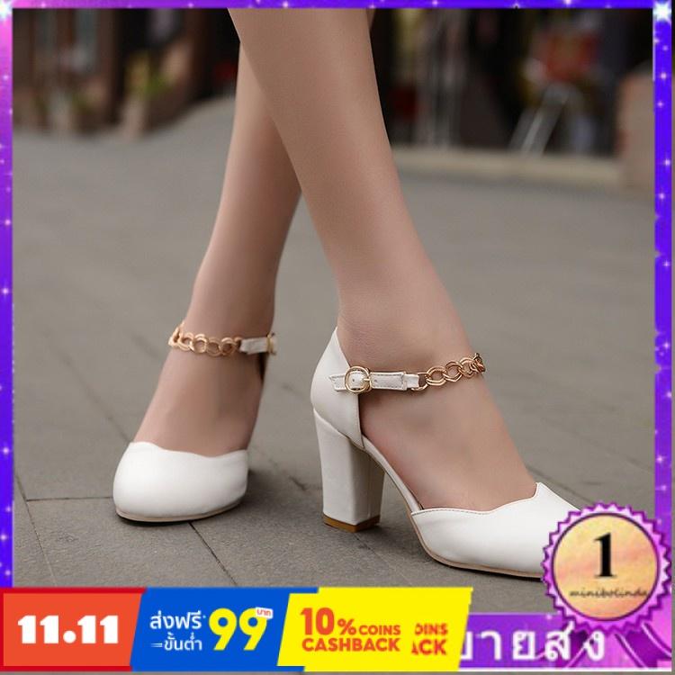 ⭐👠รองเท้าส้นสูง หัวแหลม ส้นเข็ม ใส่สบาย New Fshion รองเท้าคัชชูหัวแหลม  รองเท้าแฟชั่นวันใหม่กับรองเท้าแตะผู้หญิงคำหัวเข็