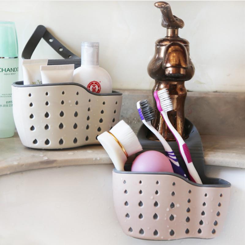 ที่เก็บของในห้องน้ำก๊อกน้ำอ่างครัวตะกร้ากระเป๋าน้ำยาล้างจานฟองน้ำตะกร้าเก็บของ iM8T