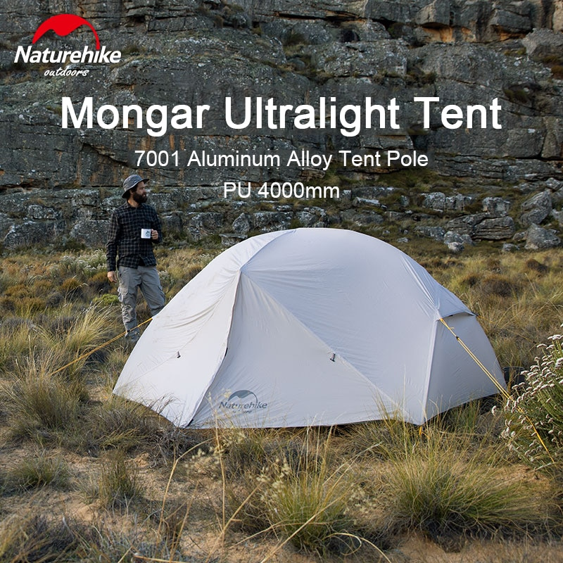 Please COD Naturehike Mongar 2 Person Camping Tent Ultralight 20D Double Layer Waterproof Travel Tent Camping Hiking Equ