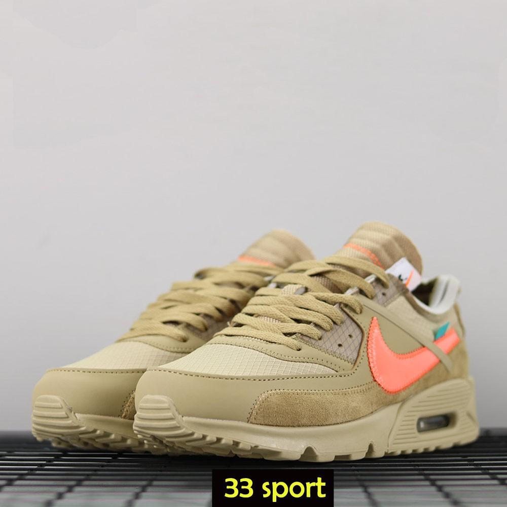 Nike Airmax 90 X Off White Desert Ore Premium รองเท้าผ้าใบลําลองสีขาว