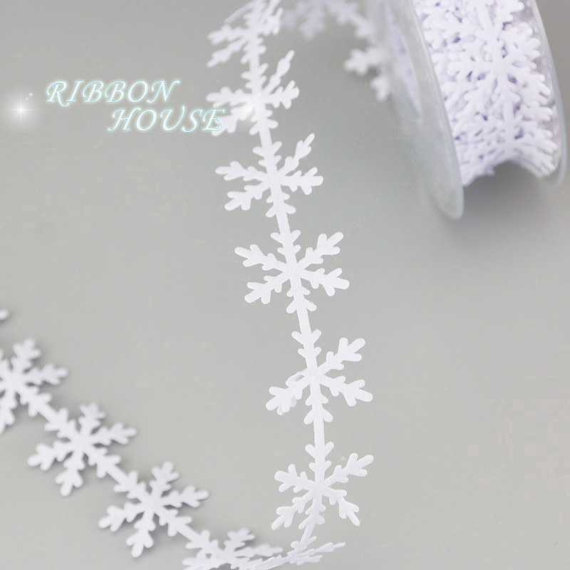 10 Meters White Grey Snowflake Ribbon Trimming Craft Embellishment for Xmas