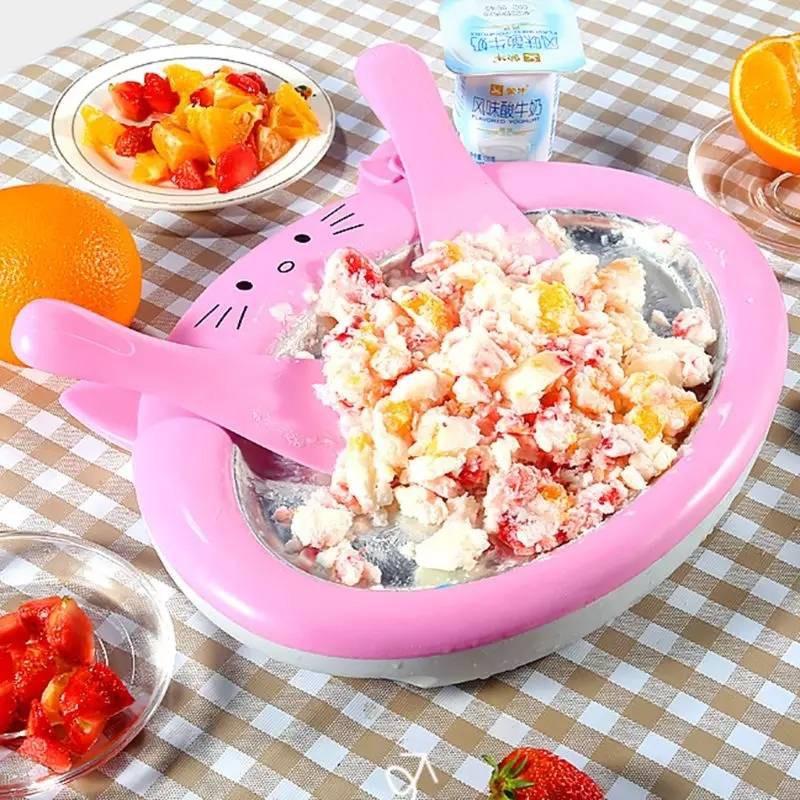เครื่องทำไอติมผัด ไอติมผัด Small MINI Ice Cream Maker กระทะทำให้เย็นเป็นน้ำแข็ง -สินค้ามีพร้อมส่ง-