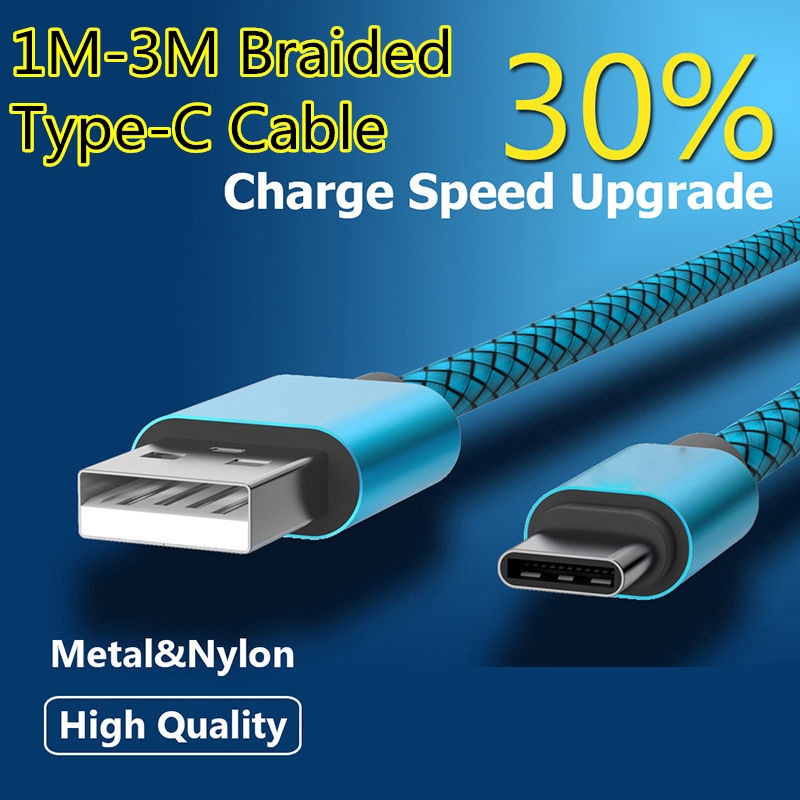 0 3m/1m/2m/3m Meter Multi-color NEW Braided Quick Charge USB Type C Cable  Mobile Phone Fast Charging Wire Line